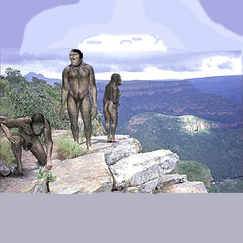 Hominids on a rocky cliff