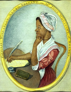Picture of Phillis Wheatley at her writing desk.